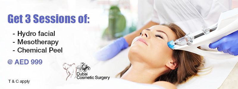 Get 3 Sessions of: Hydro facial, or Mesotherapy, or Chemical Peel @ AED 999