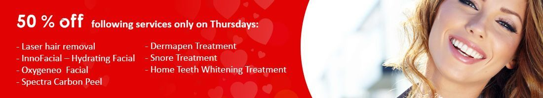 50 % off the following services only on Thursdays